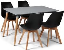 Toulouse Dining Set  - 120x80cms Grey Table & 4 Black Chairs